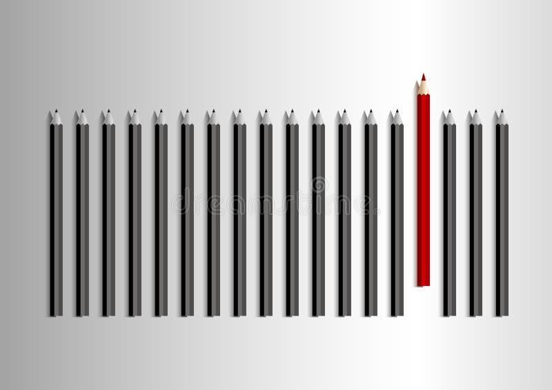 Wektorowy przywódctwo pojęcie czerwony ołówek w grupie czarny ołówek royalty ilustracja