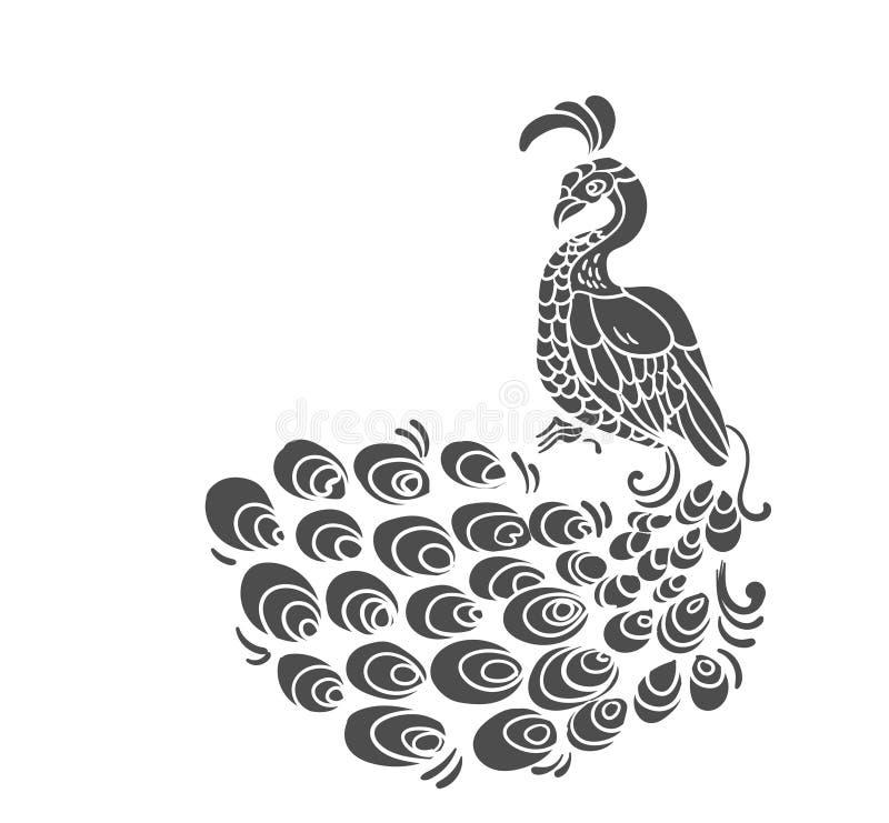 Wektorowy ptasi pawia wzoru paw odizolowywa? klamerki sztuk? ilustracji