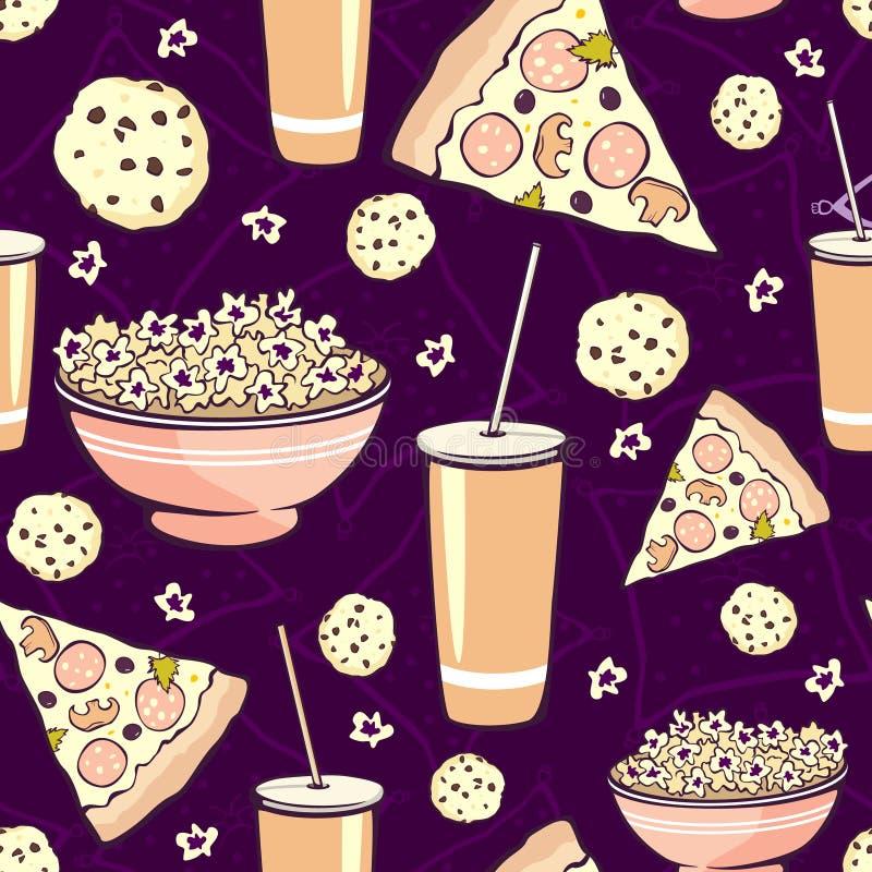 Wektorowy purpur menchii piżamy przyjęcia filmu nocy jedzenie ilustracja wektor