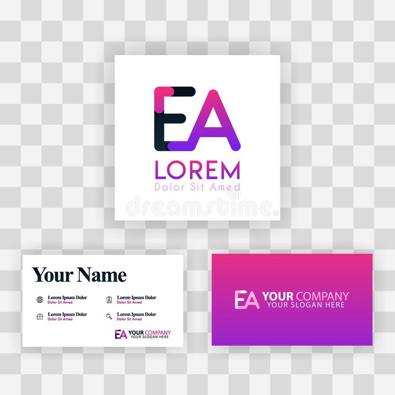 Wektorowy Purpurowy Nowożytny Kreatywnie Czyści wizytówka szablonu pojęcie AE listu logo Minimalny Gradientowy Korporacyjny EA Fi ilustracja wektor
