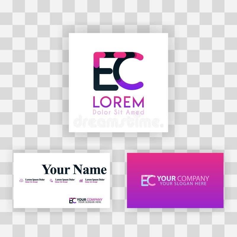 Wektorowy Purpurowy Nowożytny Kreatywnie Czyści wizytówka szablonu pojęcie CE Listowego logo Minimalny Gradientowy Korporacyjny E royalty ilustracja