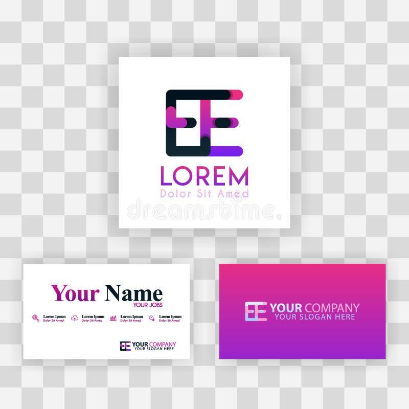 Wektorowy Purpurowy Nowożytny Kreatywnie Czyści wizytówka szablonu pojęcie EE listu logo Minimalny Gradientowy Korporacyjny EE fi ilustracja wektor