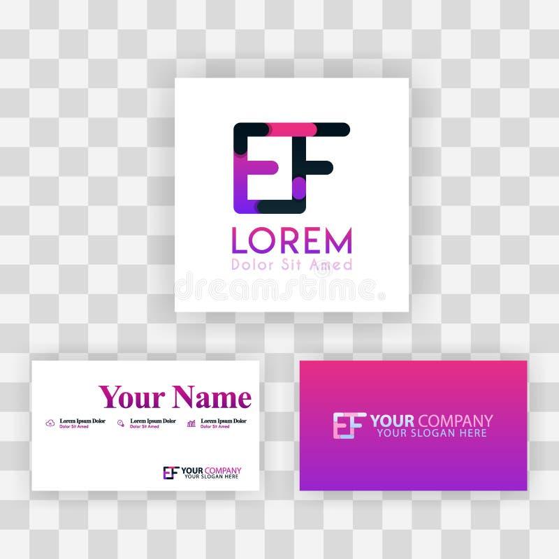 Wektorowy Purpurowy Nowożytny Kreatywnie Czyści wizytówka szablonu pojęcie FE listu logo Minimalny Gradientowy Korporacyjny EF Fi ilustracja wektor