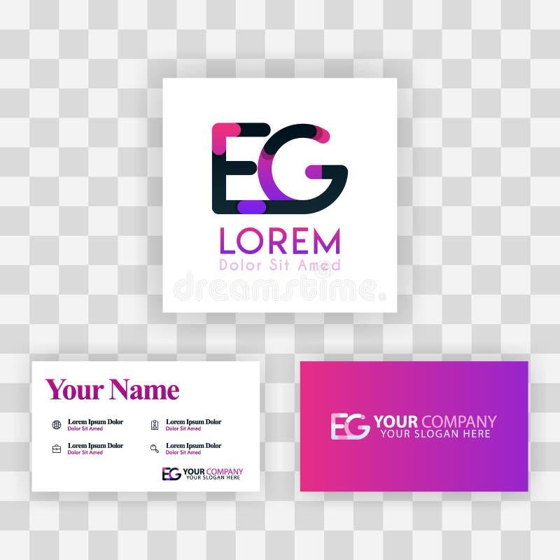 Wektorowy Purpurowy Nowożytny Kreatywnie Czyści wizytówka szablonu pojęcie GE listu logo Minimalny Gradientowy Korporacyjny EG. F royalty ilustracja