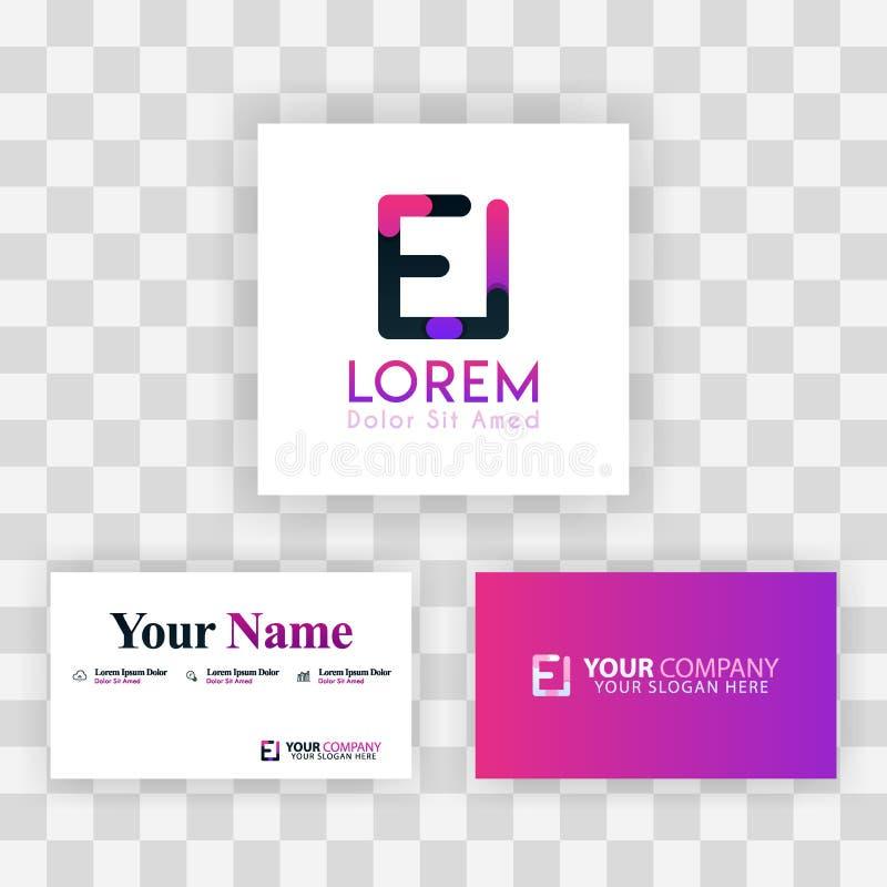 Wektorowy Purpurowy Nowożytny Kreatywnie Czyści wizytówka szablonu pojęcie IE listu logo Minimalny Gradientowy Korporacyjny EI Fi royalty ilustracja