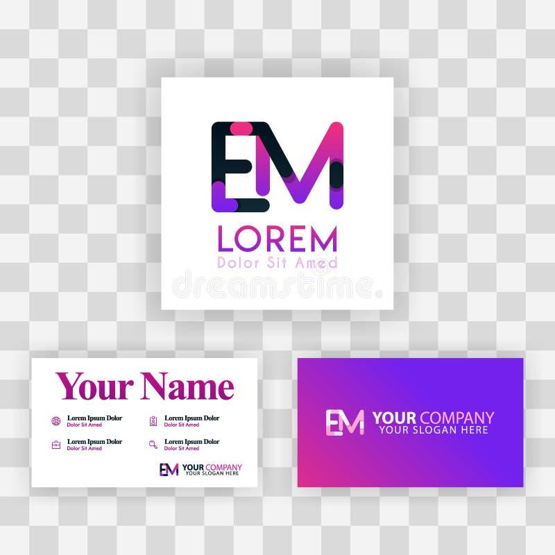 Wektorowy Purpurowy Nowożytny Kreatywnie Czyści wizytówka szablonu pojęcie JA Listowego logo Minimalny Gradientowy Korporacyjny E ilustracja wektor
