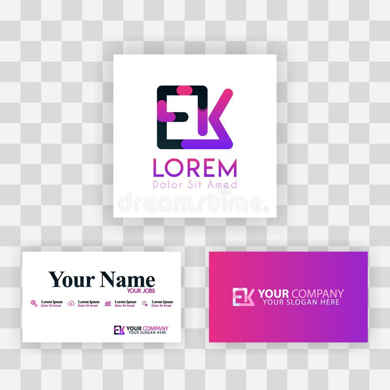 Wektorowy Purpurowy Nowożytny Kreatywnie Czyści wizytówka szablonu pojęcie KE listu logo Minimalny Gradientowy Korporacyjny EK Fi ilustracji