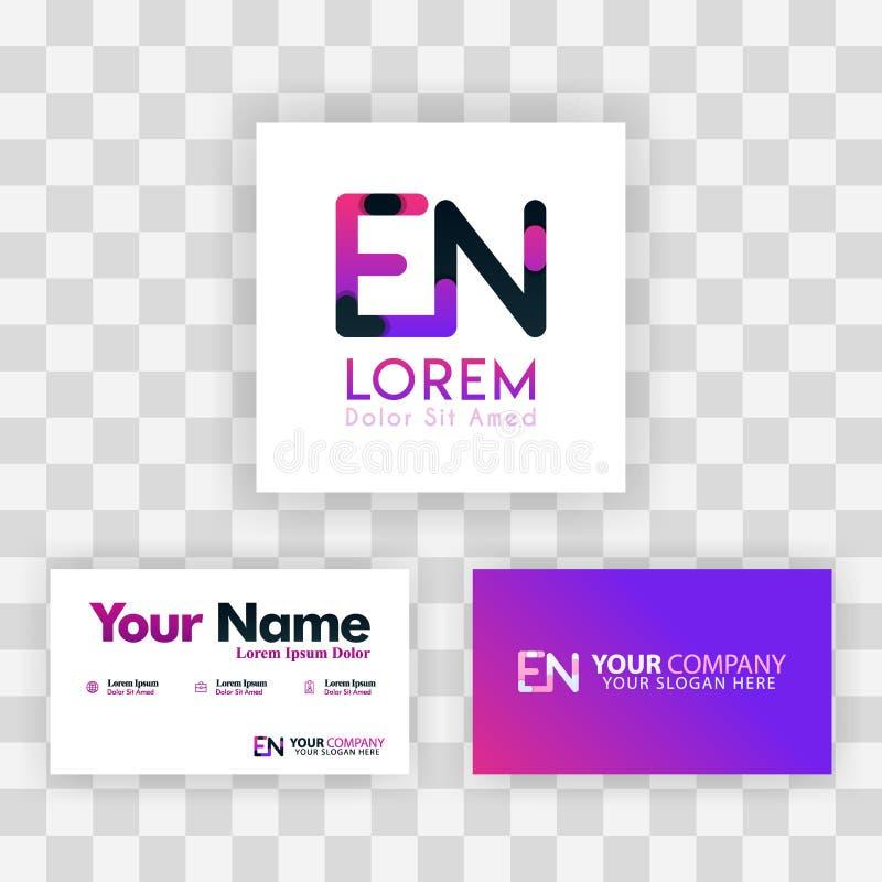 Wektorowy Purpurowy Nowożytny Kreatywnie Czyści wizytówka szablonu pojęcie NE listu logo Minimalny Gradientowy Korporacyjny EN Fi ilustracja wektor
