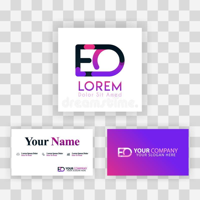 Wektorowy Purpurowy Nowożytny Kreatywnie Czyści wizytówka szablonu pojęcie OE listu logo Minimalny Gradientowy Korporacyjny EO Fi royalty ilustracja