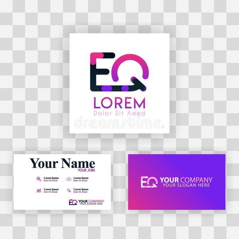 Wektorowy Purpurowy Nowożytny Kreatywnie Czyści wizytówka szablonu pojęcie QE listu logo Minimalny Gradientowy Korporacyjny EQ Fi ilustracji