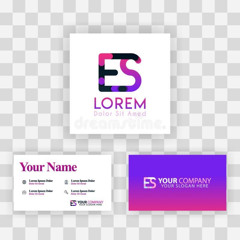 Wektorowy Purpurowy Nowożytny Kreatywnie Czyści wizytówka szablonu pojęcie SE listu logo Minimalny Gradientowy Korporacyjny ES Fi ilustracja wektor