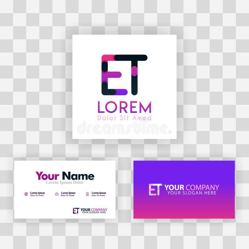 Wektorowy Purpurowy Nowożytny Kreatywnie Czyści wizytówka szablonu pojęcie TE listu logo Minimalny Gradientowy Korporacyjny ET fi ilustracji