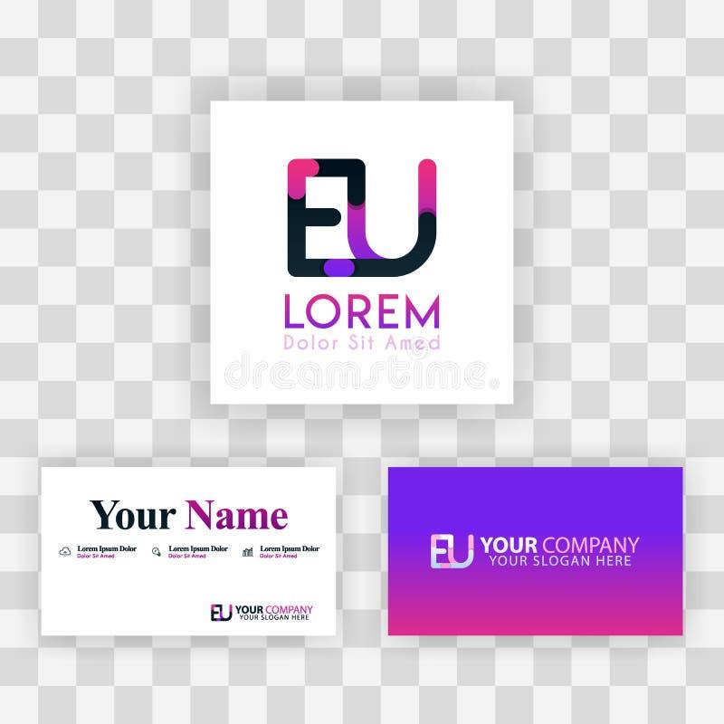 Wektorowy Purpurowy Nowożytny Kreatywnie Czyści wizytówka szablonu pojęcie UE listu logo Minimalny Gradientowy Korporacyjny UE Fi ilustracji