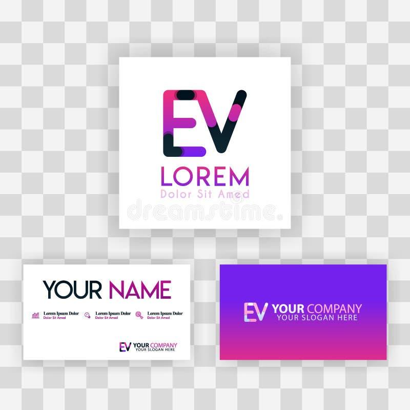 Wektorowy Purpurowy Nowożytny Kreatywnie Czyści wizytówka szablonu pojęcie VE listu logo Minimalny Gradientowy Korporacyjny EV Fi royalty ilustracja