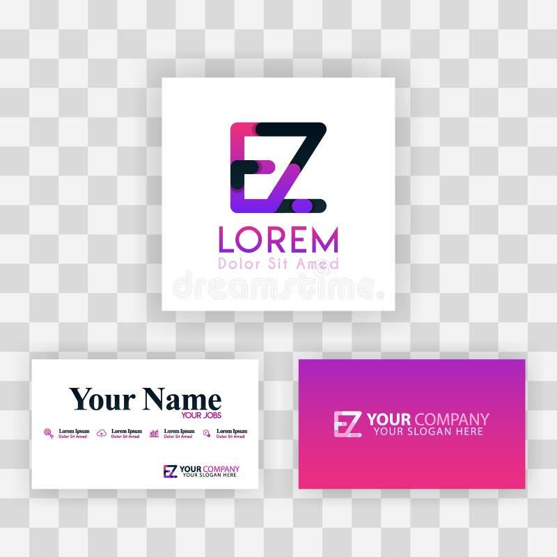 Wektorowy Purpurowy Nowożytny Kreatywnie Czyści wizytówka szablonu pojęcie ZE listu logo Minimalny Gradientowy Korporacyjny EZ Fi ilustracji