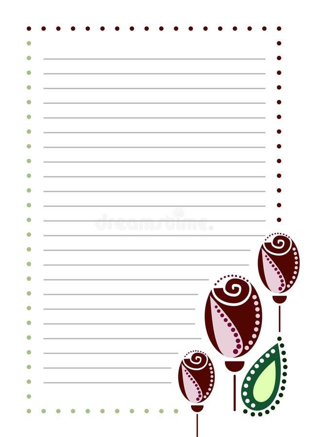 Wektorowy puste miejsce dla listu lub kartka z pozdrowieniami Prążkowany papier, biel obciosywał formę z różami ilustracja wektor