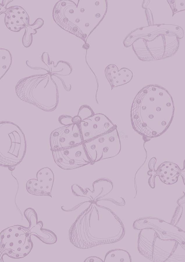 Wektorowy puste miejsce dla listu lub kartka z pozdrowieniami W kratkę papier, fiołek forma z ręka rysującym prezentem, lotniczy  ilustracji