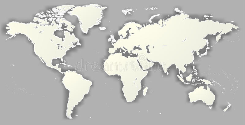 Wektorowy puste miejsce drzejący sylwetki Światowej mapy Worldmap Monochromatyczny templ ilustracji