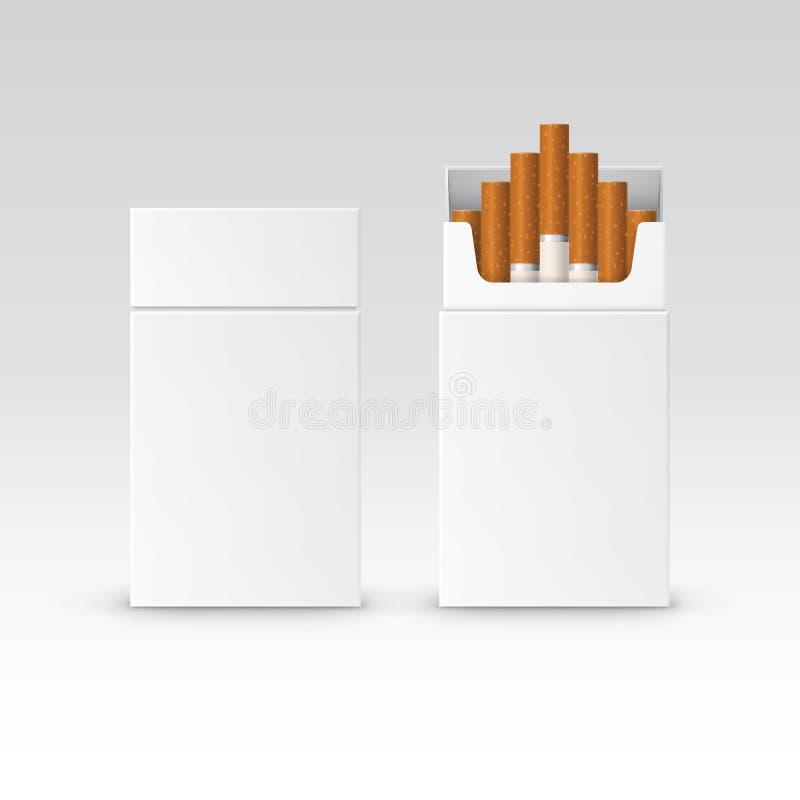 Wektorowy puste miejsce paczki pakunku pudełko papierosy royalty ilustracja