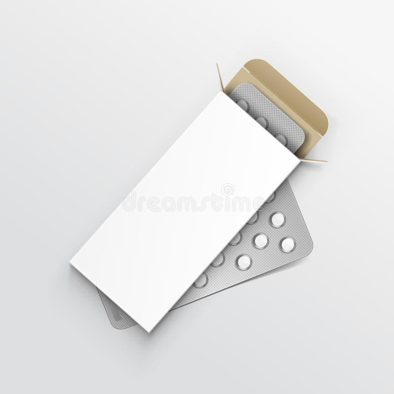 Wektorowy Pusty pakunku pudełko dla bąbla pigułki royalty ilustracja