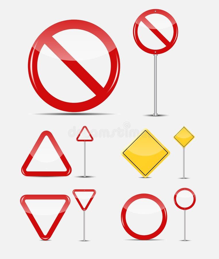 Wektorowy Pusty ruchu drogowego znaka set ilustracja wektor