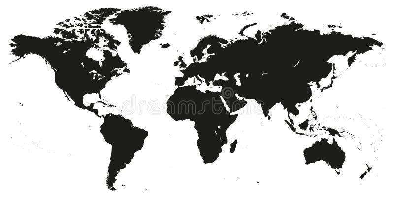 Wektorowy Pusty zmrok Popielaty, czarna jednakowa Światowa mapa odizolowywająca na whit ilustracji