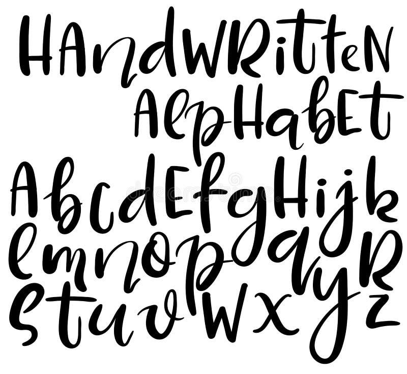 Wektorowy ręcznie pisany abecadło Różny styl listy Doodle abc ilustracji