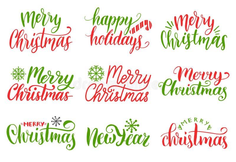 Wektorowy ręcznie pisany Wesoło bożych narodzeń kaligrafii set Kolekcja narodzenia jezusa i nowego roku literowanie ilustracji