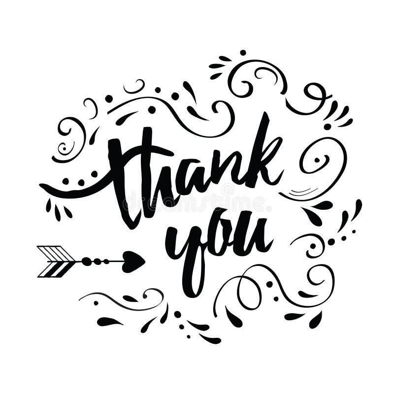 Wektorowy ręcznie robiony kartka z pozdrowieniami z tekstem dziękuje ciebie dekorował czarnego abstrakcjonistycznego kwiecistego  ilustracja wektor
