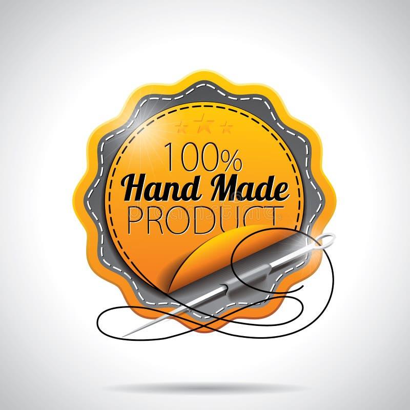 Wektorowy Ręcznie Robiony produkt Przylepia etykietkę ilustrację z błyszczącym projektującym projektem na jasnym tle. EPS 10. ilustracji