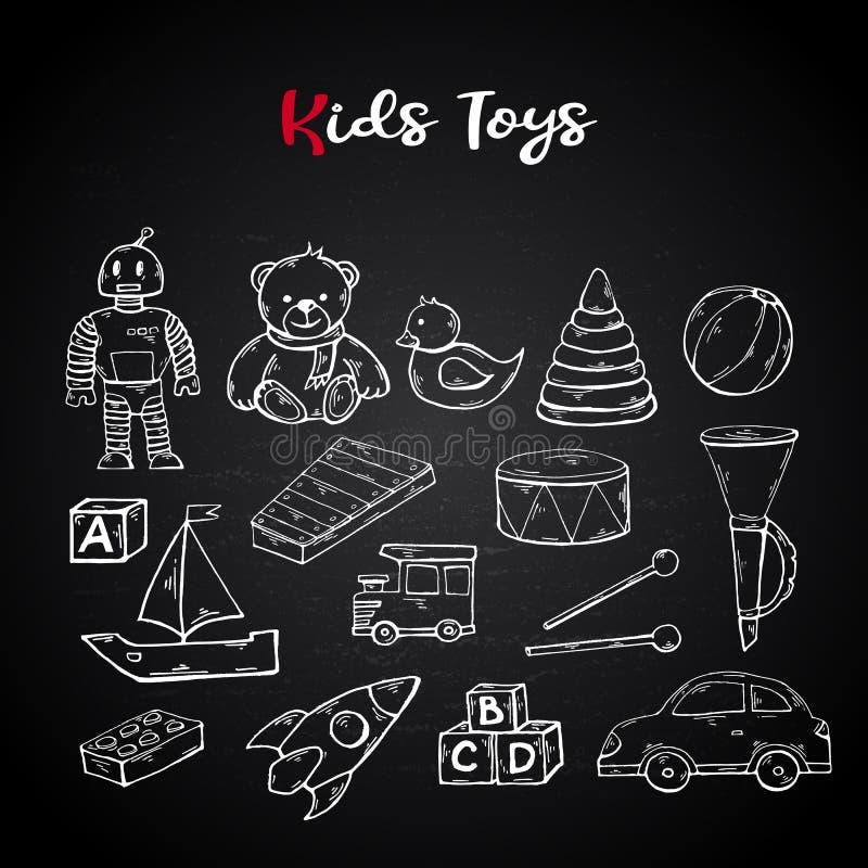 Wektorowy ręka remis żartuje zabawki ustawiać w doodle stylu royalty ilustracja