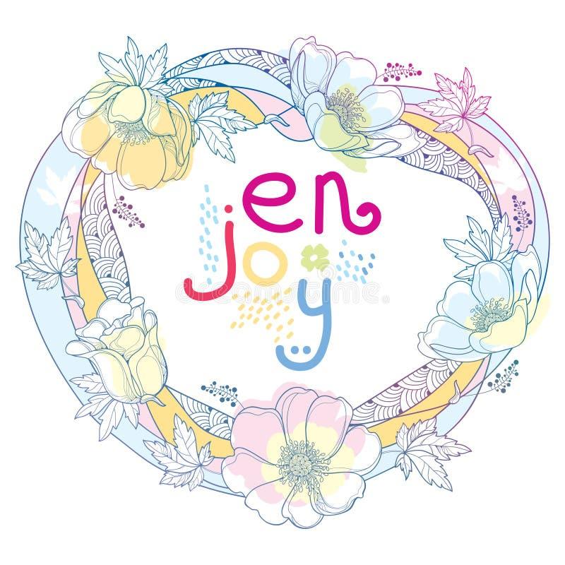 Wektorowy ręka rysunek konturu round wianek z Anemonowym kwiatem, Windflower, pączek lub liść w pastelu, barwił odosobnionego na  ilustracji