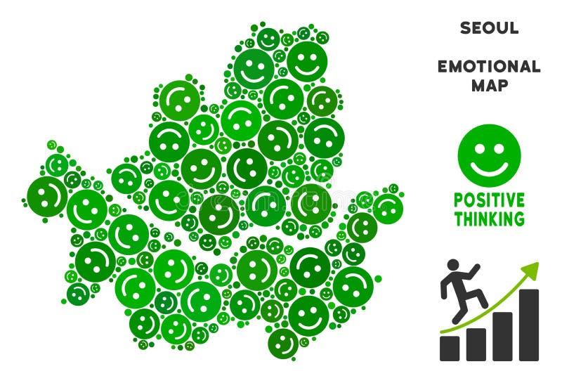 Wektorowy radości Seul miasta mapy skład Smileys ilustracji