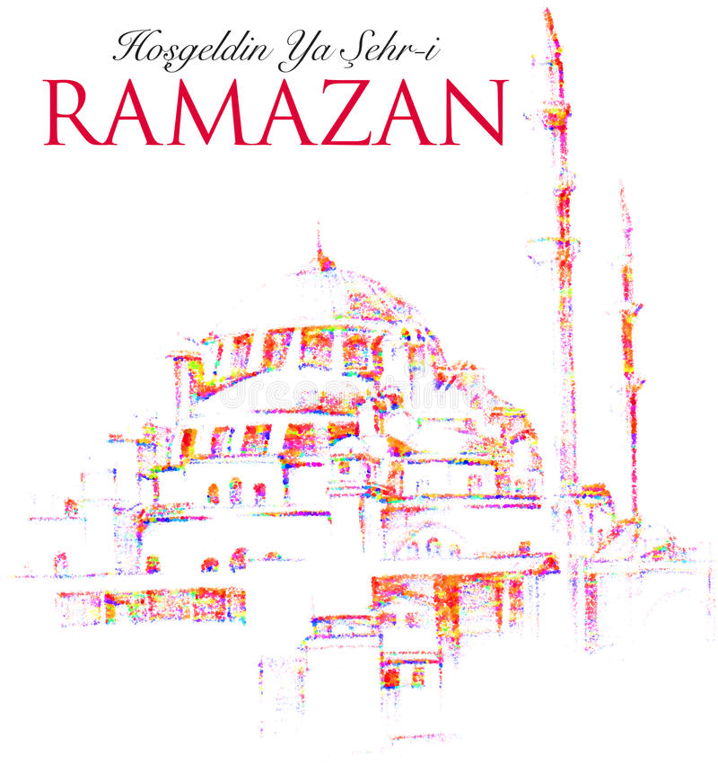 Wektorowy Ramadan Kareem powitanie z meczetem