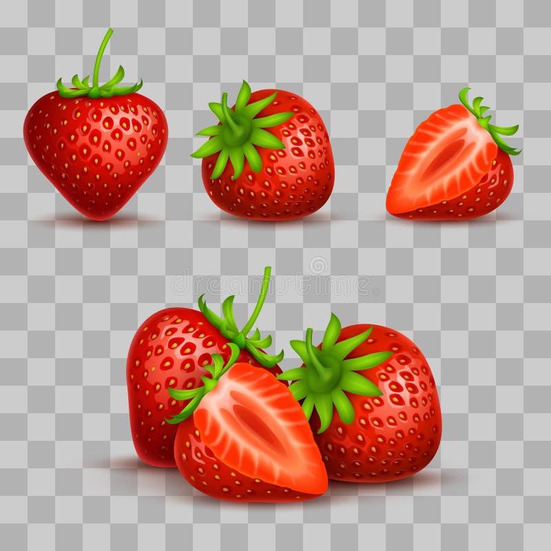 Wektorowy realistyczny cukierki i świeża truskawka odizolowywający na przejrzystym tle ilustracji