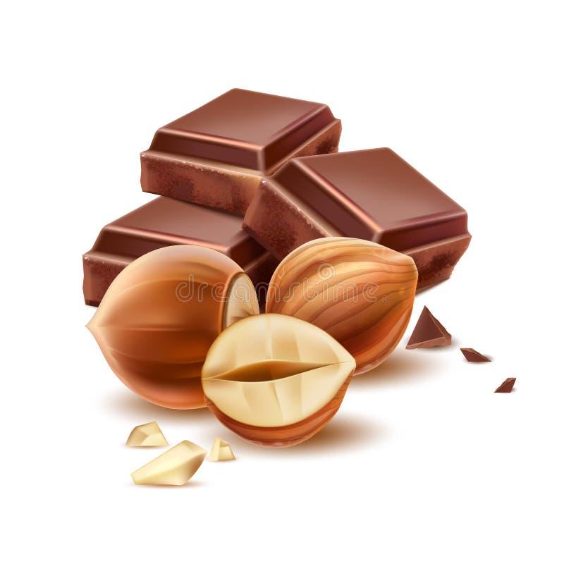 Wektorowy realistyczny czekoladowy kawałek z 3d hazelnut royalty ilustracja