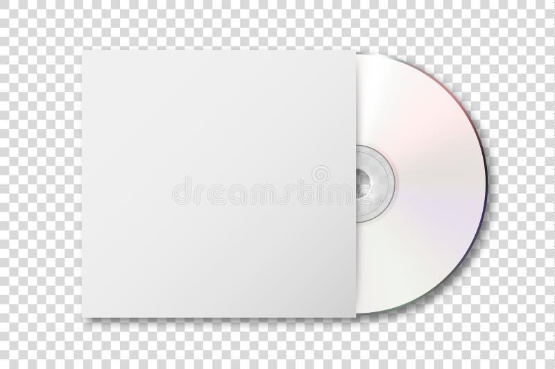 Wektorowy realistyczny 3d biały cd z okładkową ikoną odizolowywającą na przezroczystości siatki tle Projekta szablon pakować ilustracji
