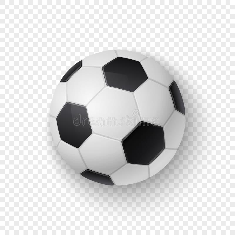 Wektorowy realistyczny 3d biały i czarny klasyczny futbolowy piłki nożnej piłki ikony zbliżenie odizolowywający na przezroczystoś ilustracji