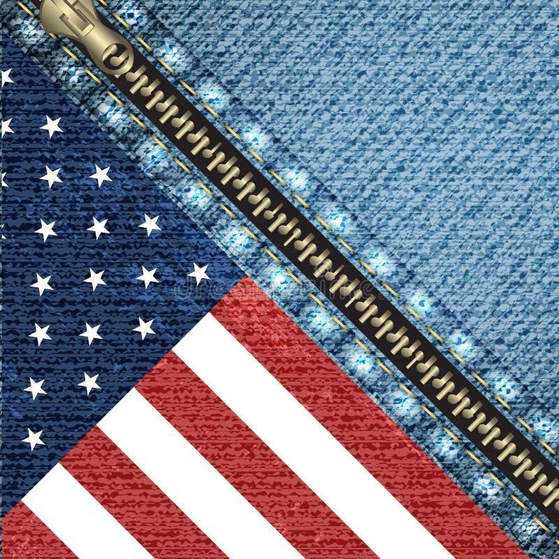 Wektorowy realistyczny drelichowy tło z usa flaga royalty ilustracja