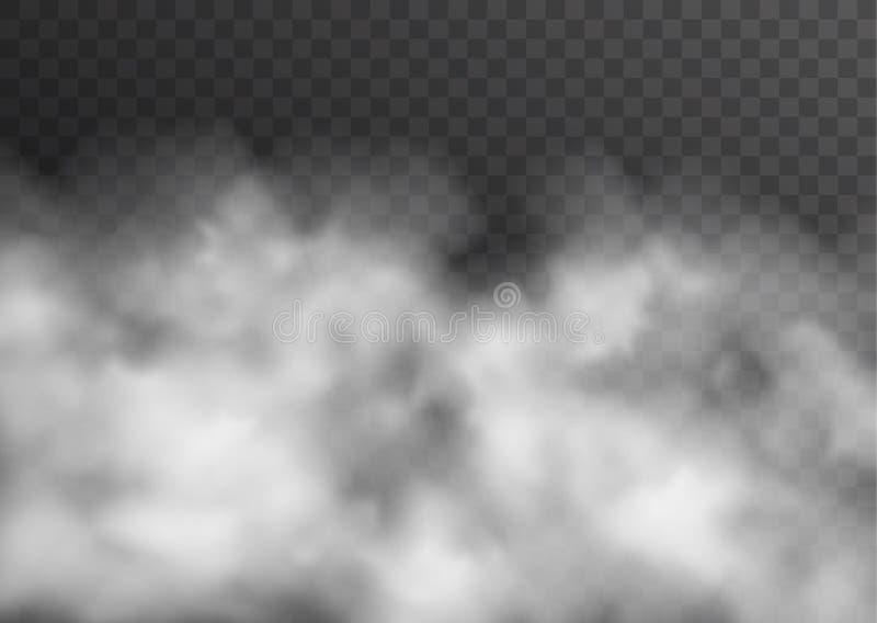 Wektorowy realistyczny dymu, mgły lub mgły przejrzysty skutek odizolowywający na ciemnym tle, royalty ilustracja