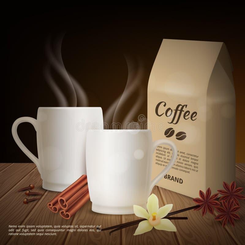 Wektorowy realistyczny filiżanka kawy i polew tło royalty ilustracja