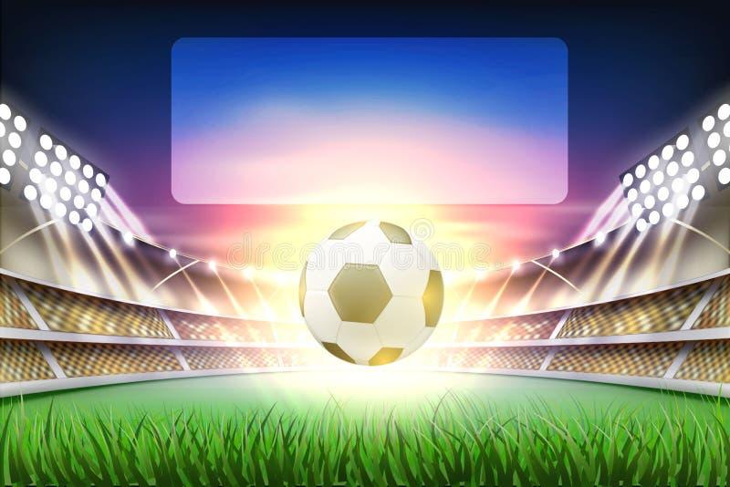 Wektorowy realistyczny footbal stadium piłkarski tło ilustracja wektor