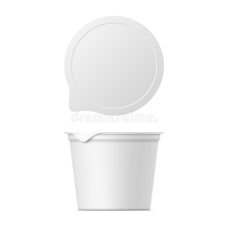 Wektorowy realistyczny jogurtu, lody lub podśmietania creme pakunek, ilustracja wektor