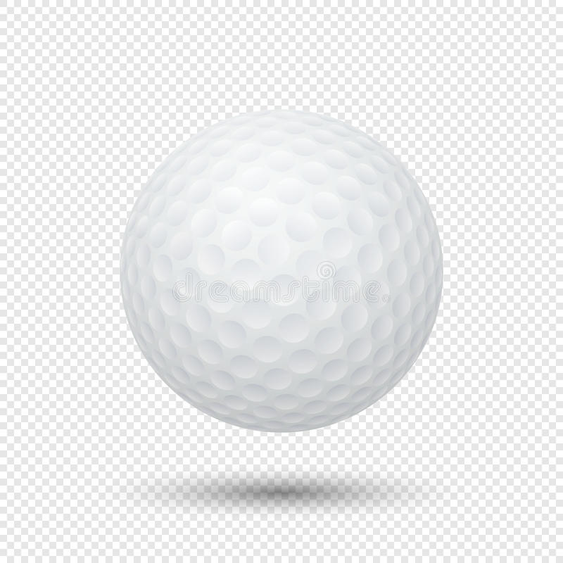 Wektorowy realistyczny latający piłki golfowej zbliżenie odizolowywający na przejrzystym tle Projekta szablon w EPS10 ilustracji