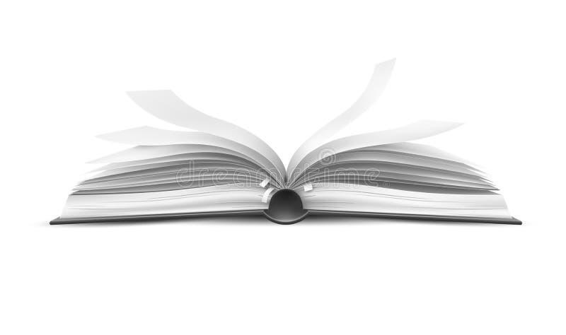 Wektorowy realistyczny otwiera książkę z trzepotać strony ilustracji