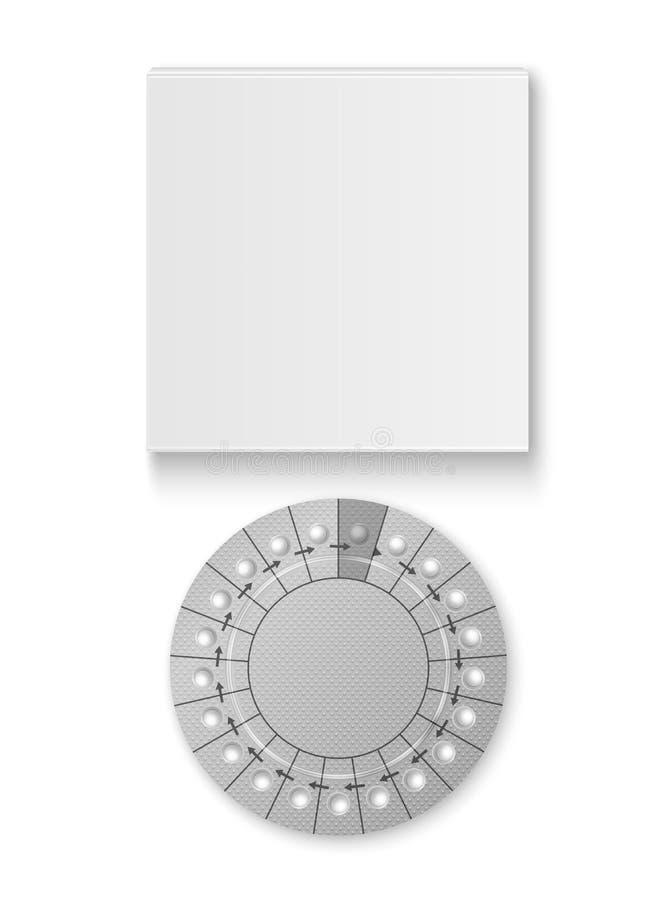Wektorowy Realistyczny Pakować kontrola urodzin pigułki z Pudełkowatym zbliżeniem Odizolowywającym Antykoncepcyjna pigułka, Hormo ilustracji