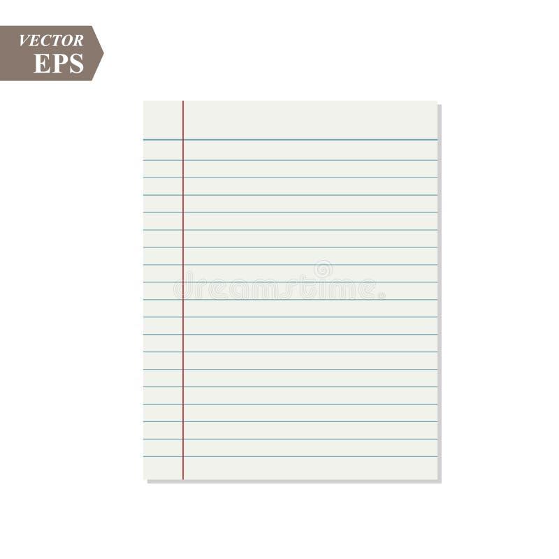 Wektorowy realistyczny prążkowany papieru prześcieradło z marginesami Copybook, notatnika lub ćwiczenie książki pusta strona, szk royalty ilustracja