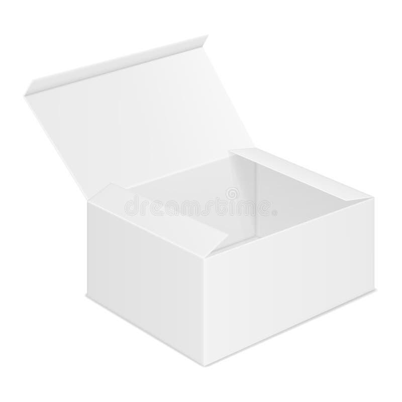 Wektorowy realistyczny wizerunek otwarty prostok?tny papierowy pude?ko ilustracja wektor