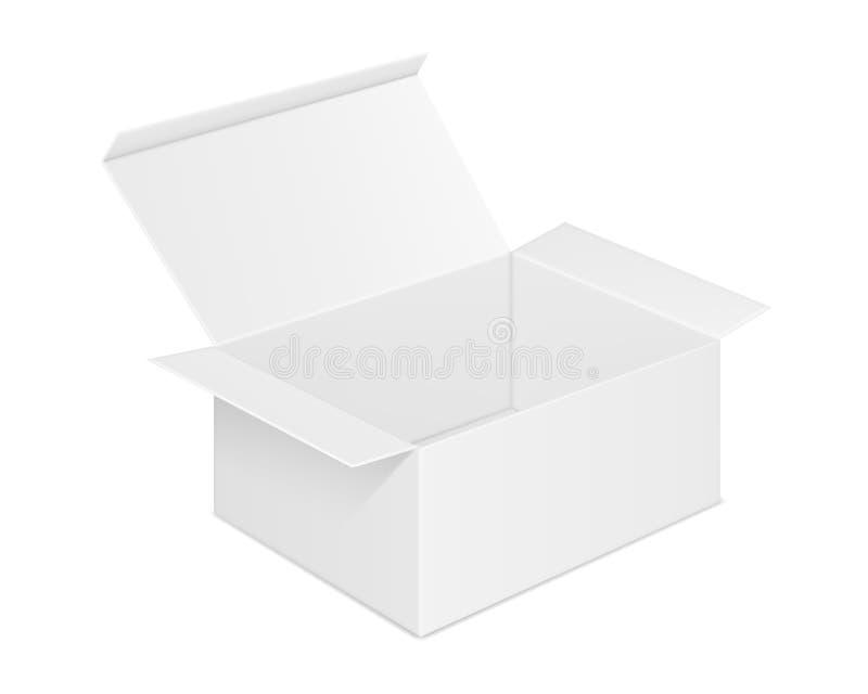 Wektorowy realistyczny wizerunek pustego kartonu otwarty prostok?tny pude?ko ilustracji