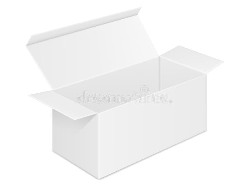 Wektorowy realistyczny wizerunek pustego miejsca otwarty prostokątny papierowy pudełko ilustracji